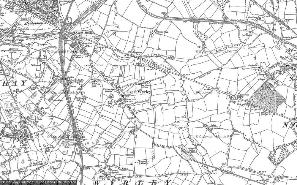 Old Map of Great Wyrley, 1883 in 1883