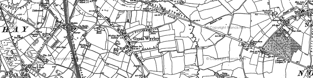 Old map of Great Wyrley in 1883