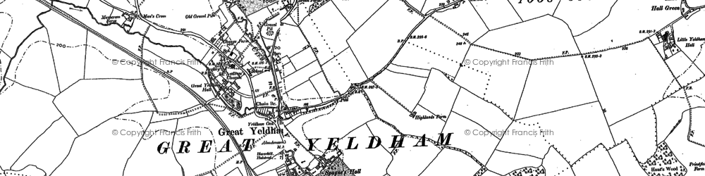 Old map of Great Yeldham in 1896