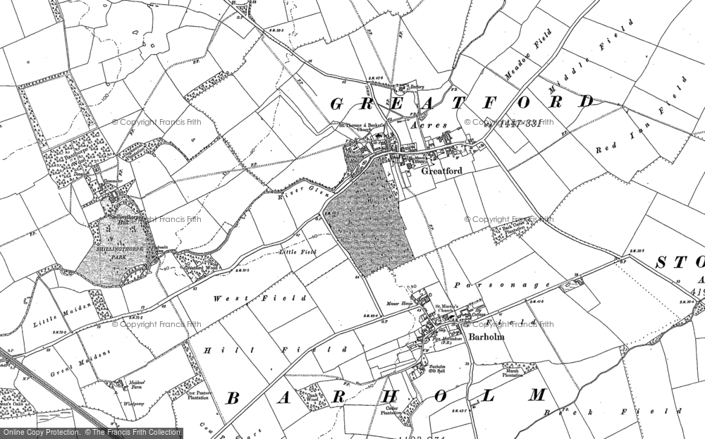 Old Map of Historic Map covering Banthorpe Wood in 1886