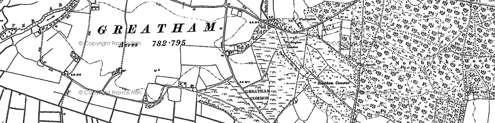 Old map of Wiggonholt Common in 1896