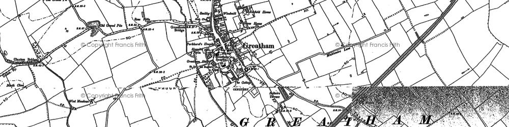 Old map of Greatham in 1914