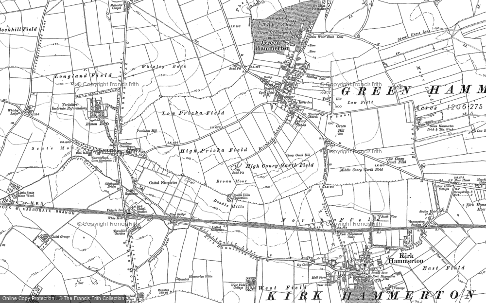 Old Map of Green Hammerton, 1892 in 1892