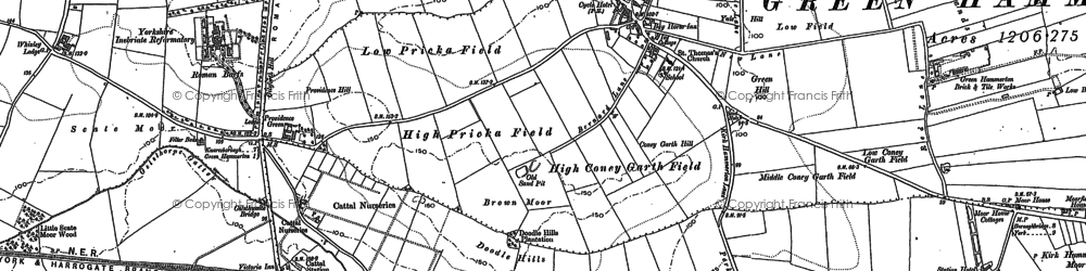 Old map of Whixley Field Ho in 1892