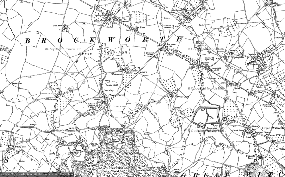 Old Map of Historic Map covering Gloucestershire in 1883