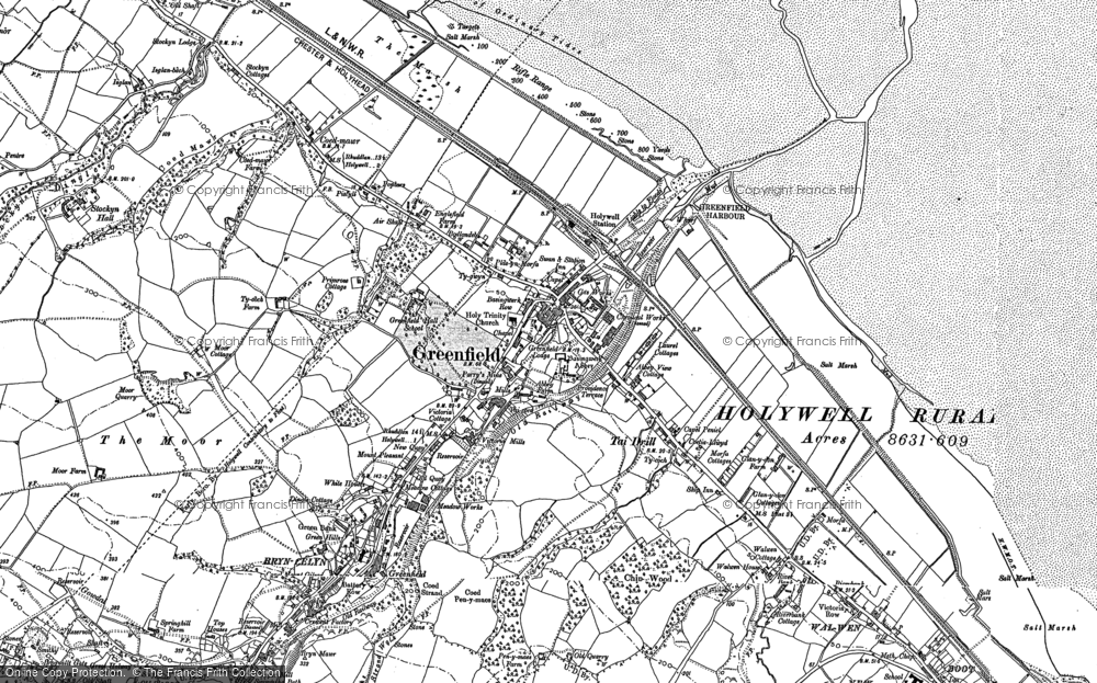 Old Map of Historic Map covering Whelston in 1910