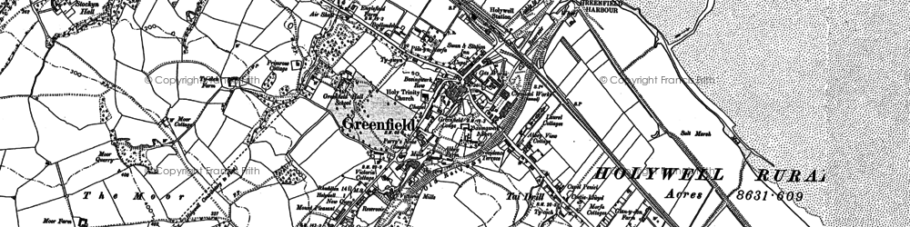 Old map of Basingwerk Abbey in 1910