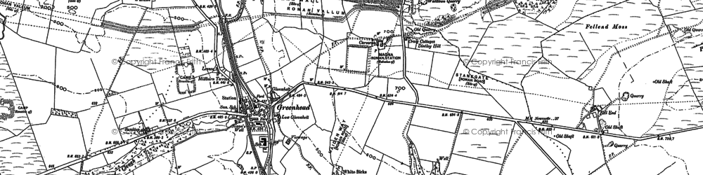 Old map of Tipalt Burn in 1895