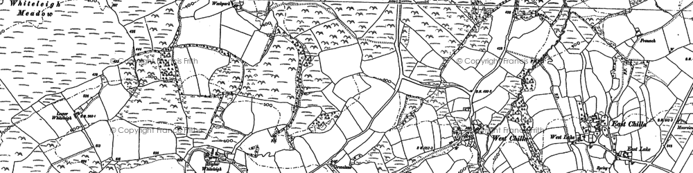 Old map of Whiteleigh Water in 1884