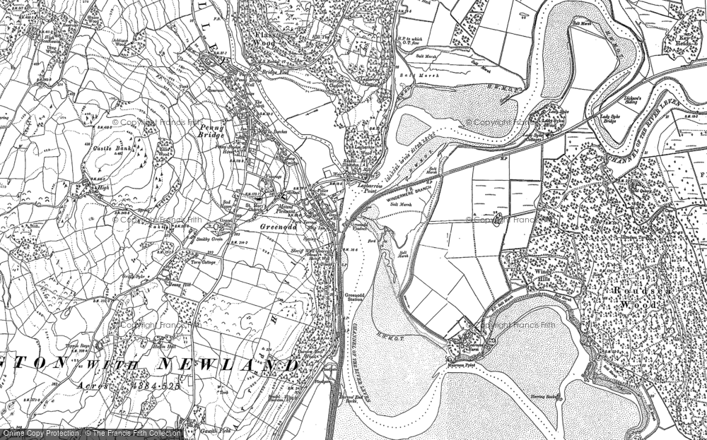 Old Map of Historic Map covering Legbarrow Point in 1911