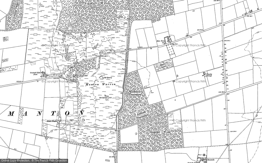 Old Map of Historic Map covering Aldham Plantn in 1885