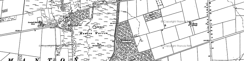 Old map of Aldham Plantn in 1885