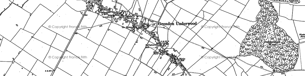 Old map of Grendon Underwood in 1898