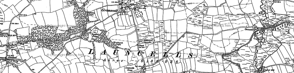 Old map of Launcells Cross in 1905