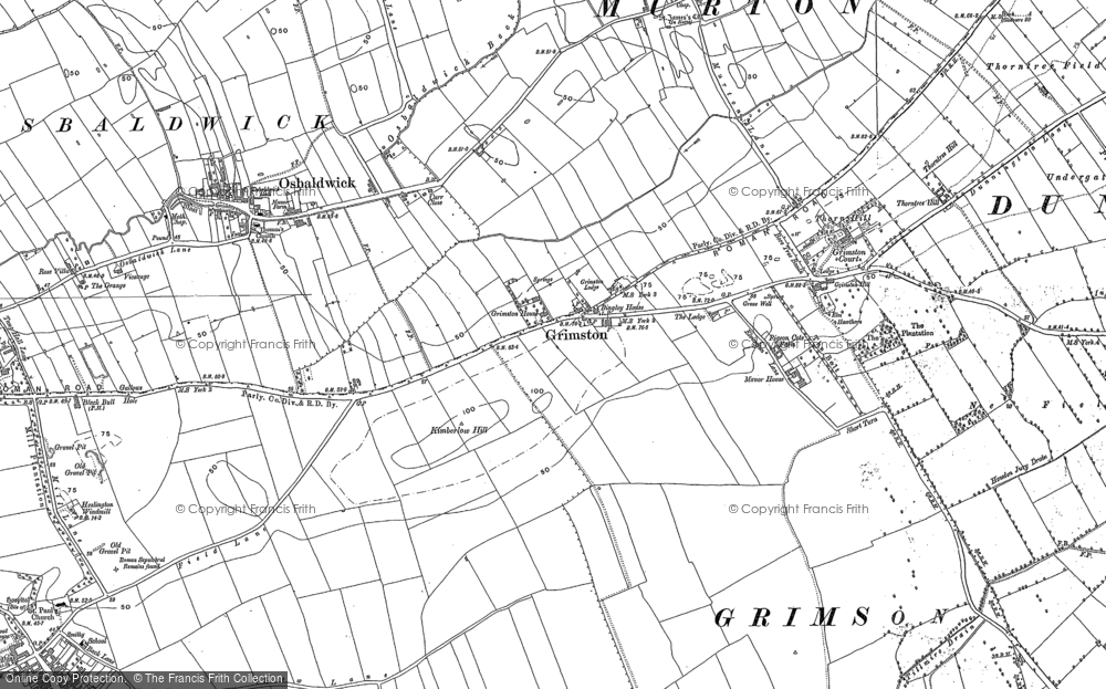 Old Map of Historic Map covering Langwith Lodge in 1890