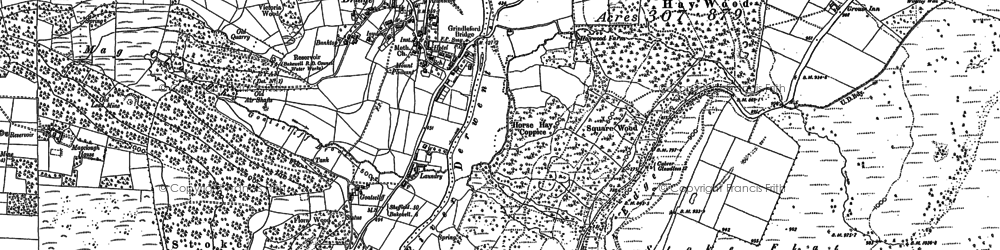 Old map of Grindleford in 1879