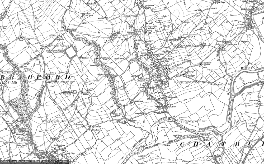 Old Map of Historic Map covering Asker Hill in 1907