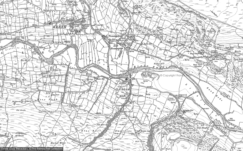 Old Map of Grinton, 1891 in 1891