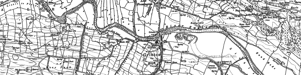 Old map of Grinton in 1891