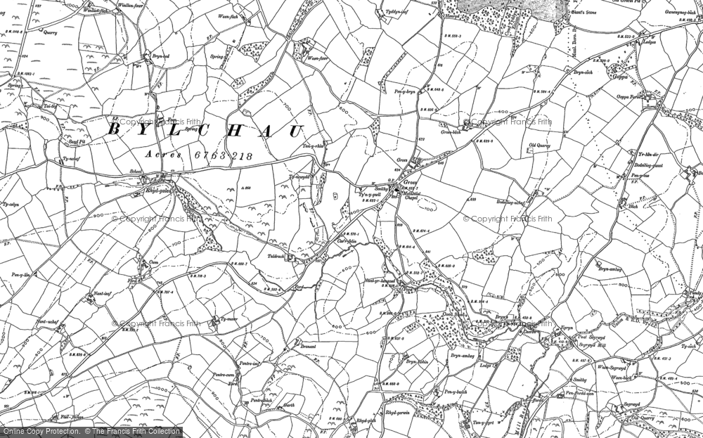 Old Map of Historic Map covering Fron in 1898