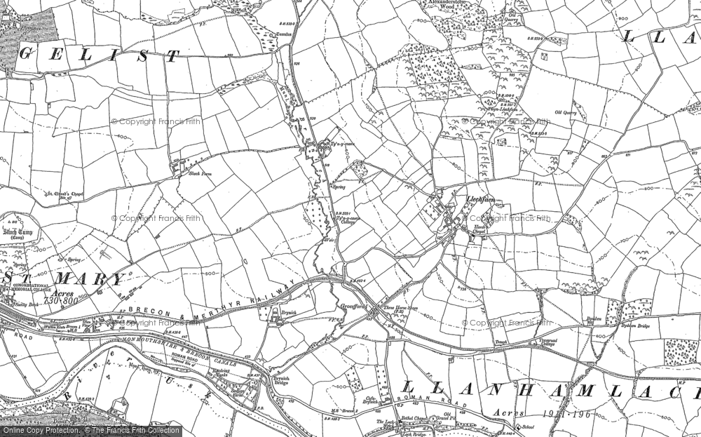 Old Map of Historic Map covering Abercynrig in 1886