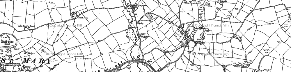 Old map of Abercynrig in 1886