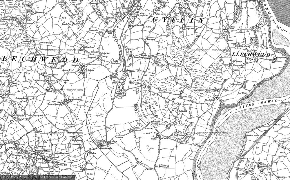 Old Map of Historic Map covering Afon Gyffin in 1887