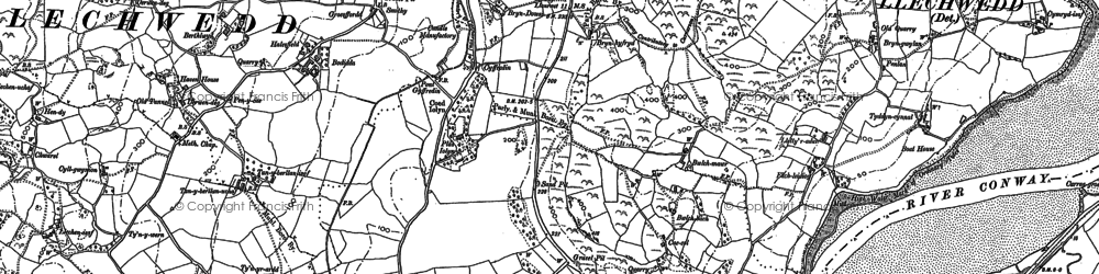 Old map of Afon Gyffin in 1887