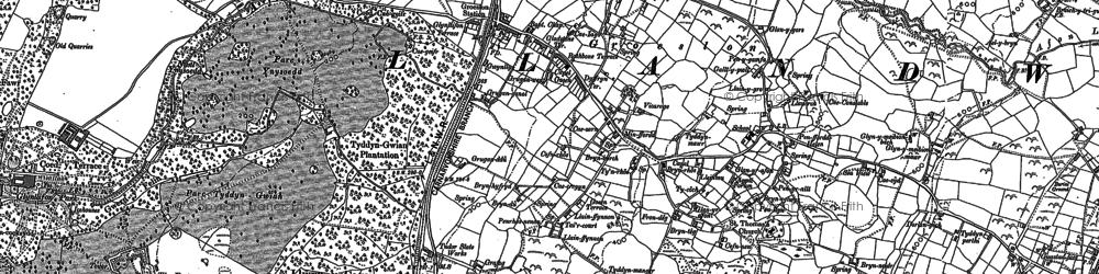 Old map of Groeslon in 1888