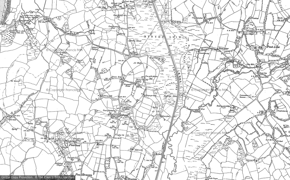 Old Map of Historic Map covering Bach-y-gwreiddyn in 1905