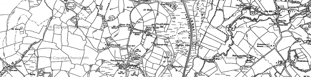 Old map of Bach-y-gwreiddyn in 1905