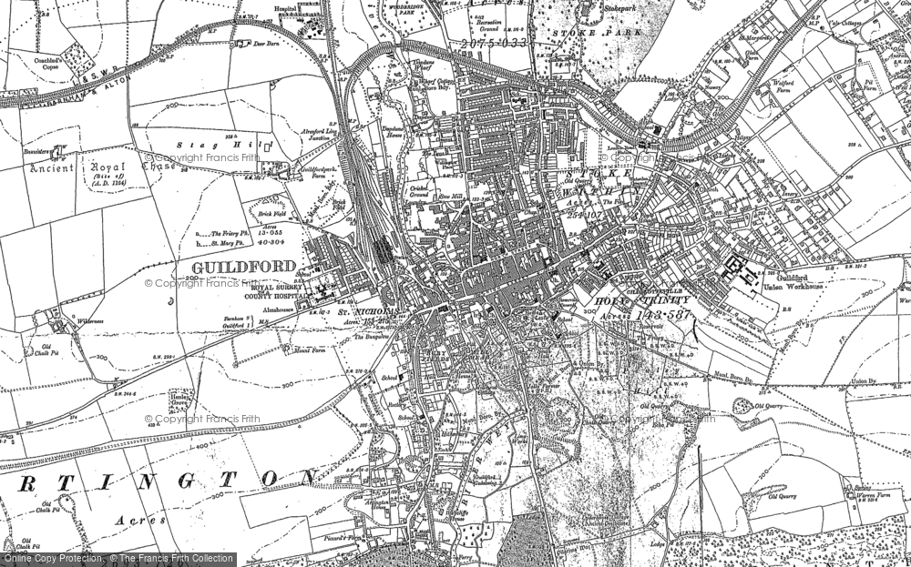 Map of Guildford, 1895