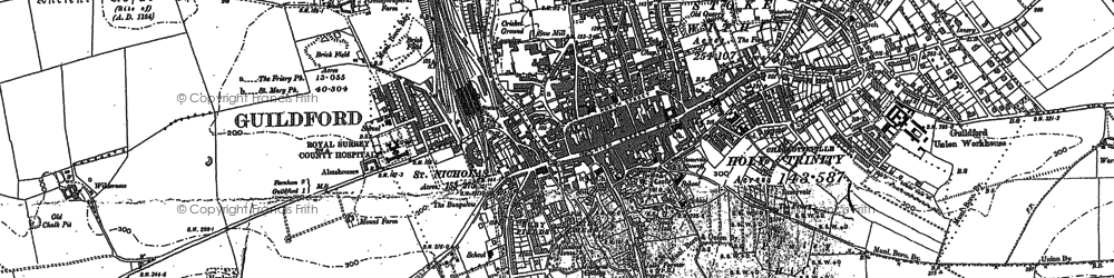 Old map of Guildford in 1895