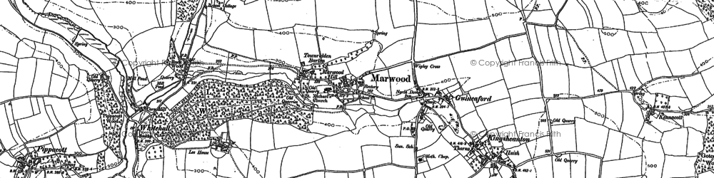 Old map of Wigley Cross in 1886