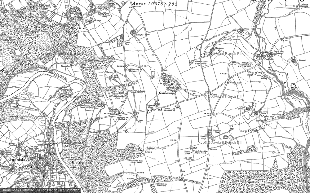 Old Map of Historic Map covering Woodovis Ho in 1905