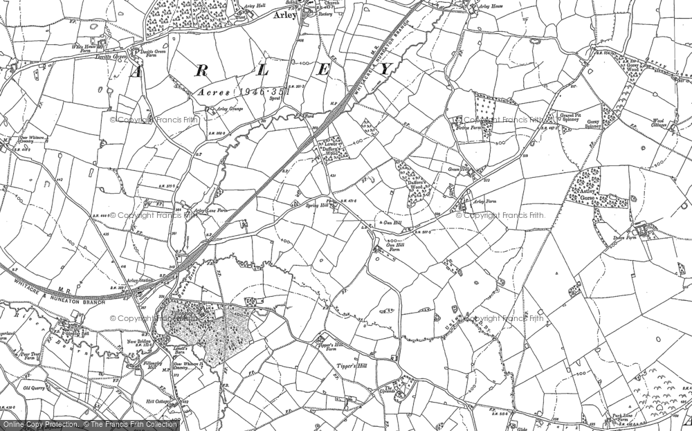 Old Map of Historic Map covering Tipper's Hill in 1887