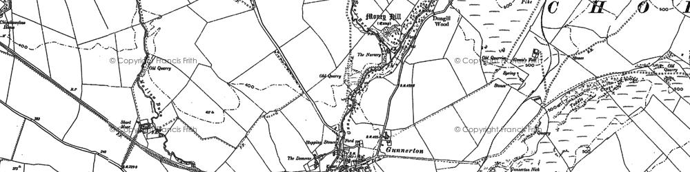 Old map of Gunnerton in 1895