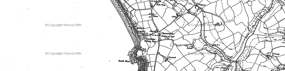 Old map of Gunwalloe Fishing Cove in 1906