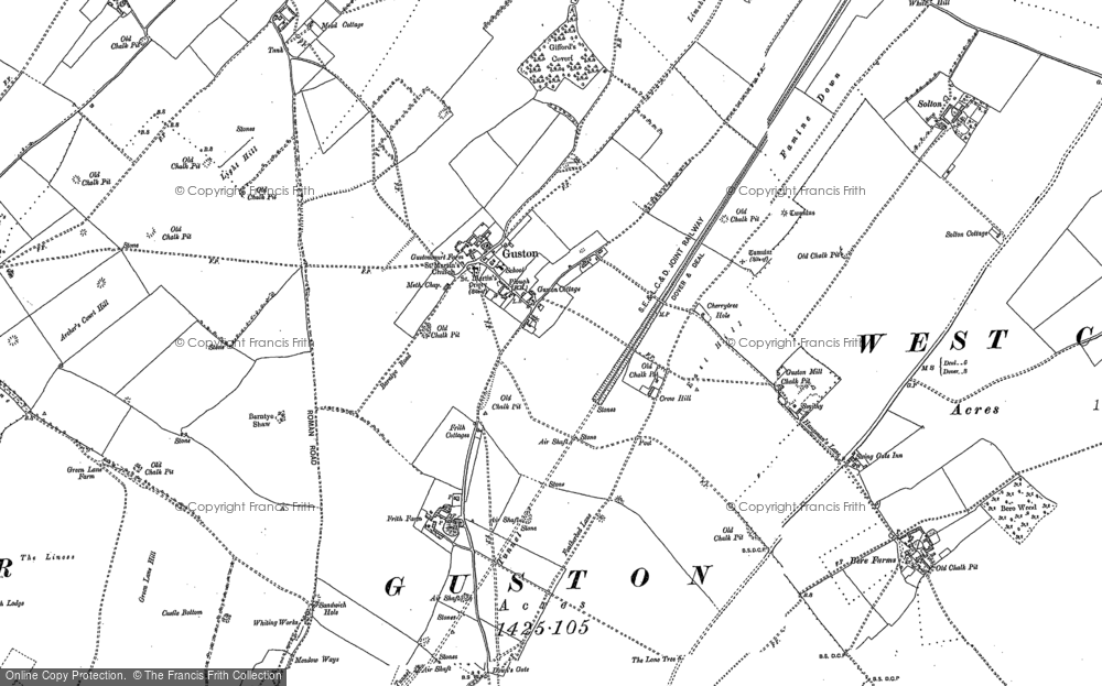 Old Map of Historic Map covering Langdon Bay in 1906