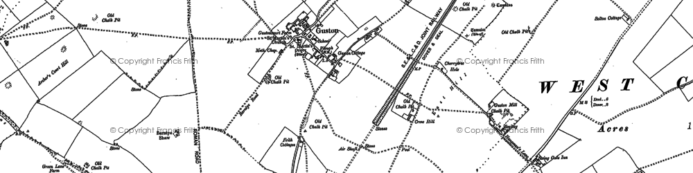 Old map of Langdon Bay in 1906