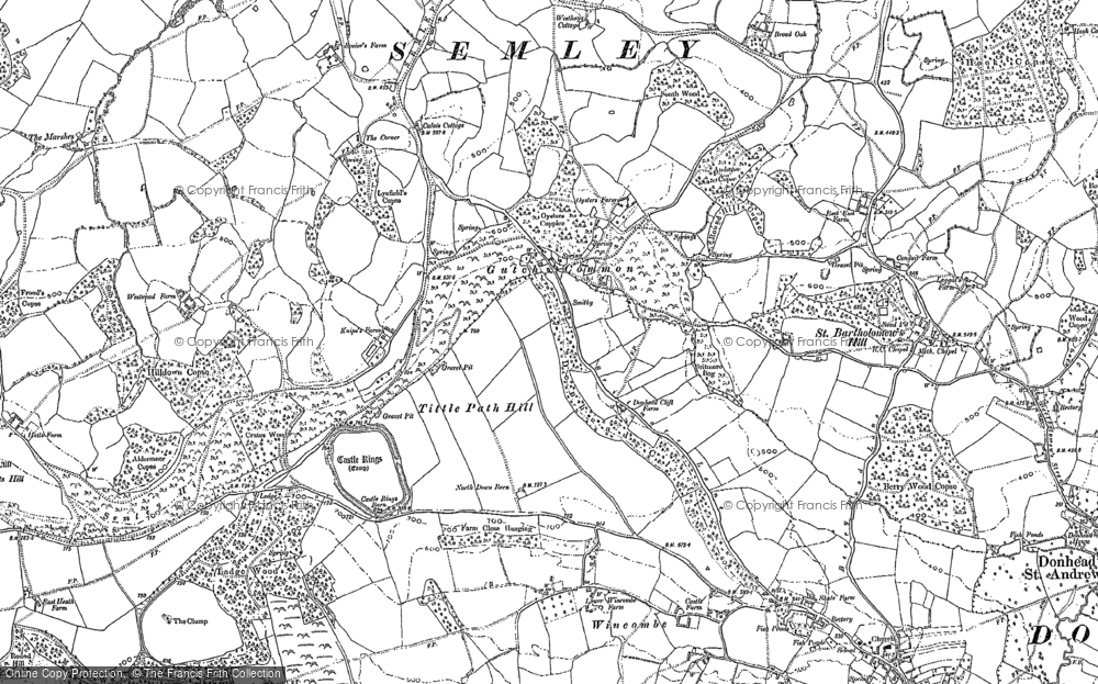 Old Map of Historic Map covering Barkers Hill in 1900