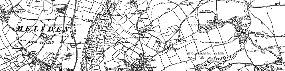 Old map of Bryniau in 1898