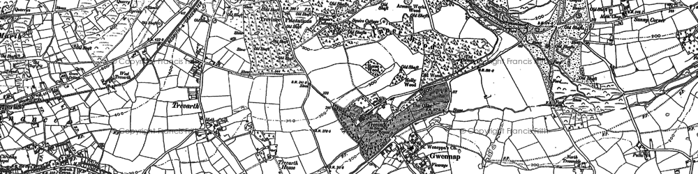 Old map of Gwennap in 1878
