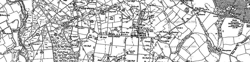 Old map of Gwernaffield in 1898