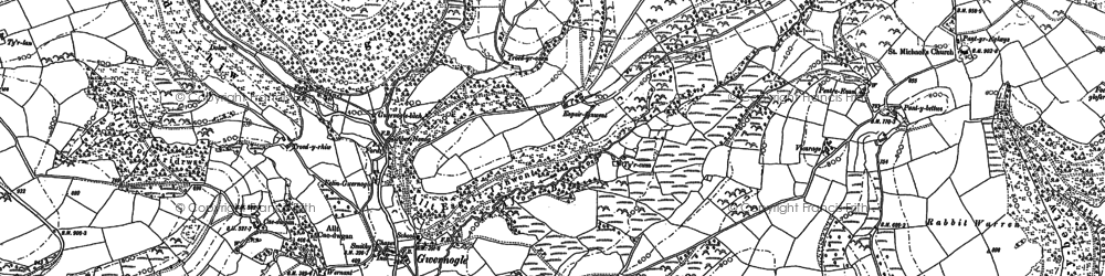 Old map of Allt Bryn-Llywelyn in 1887