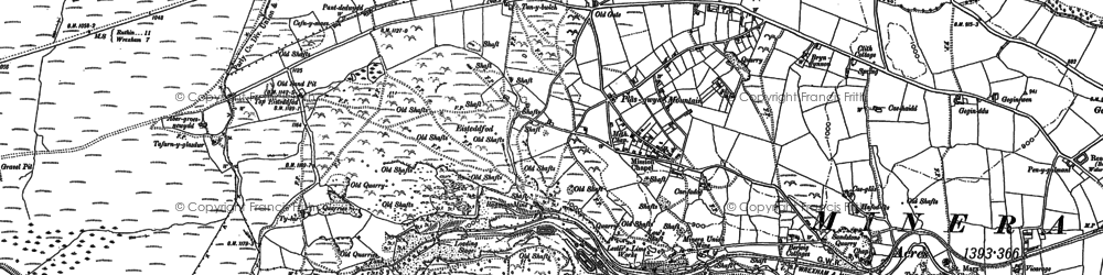 Old map of Aber Sychnant in 1910