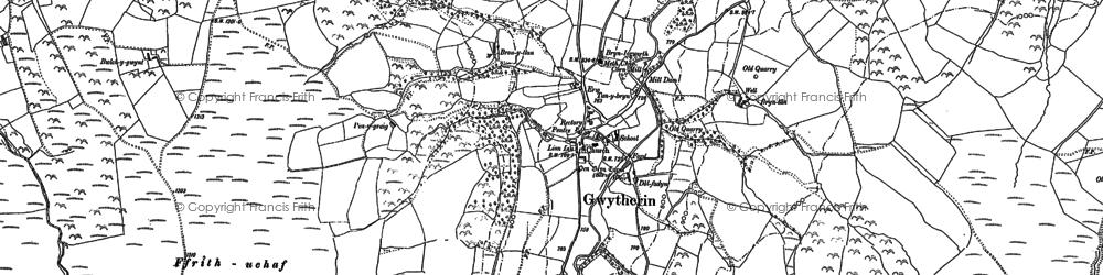 Old map of Afon Cledwen in 1899