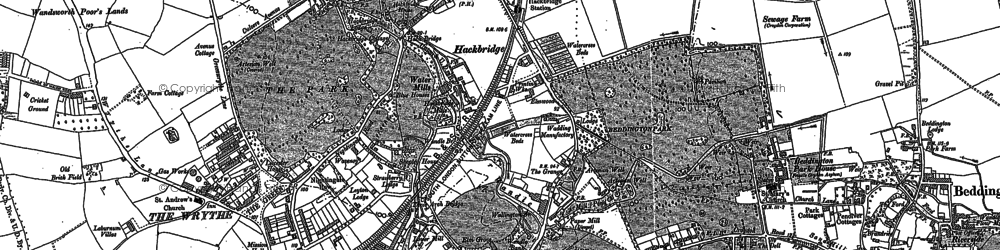 Old map of Hackbridge in 1894