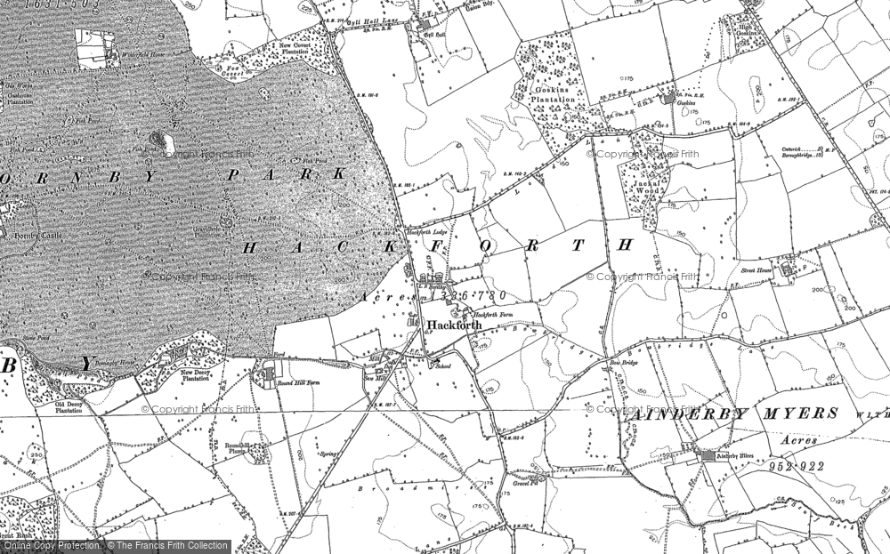 Old Map of Historic Map covering Ainderby Myres in 1891