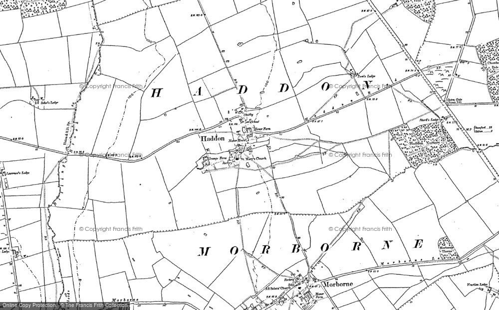 Old Map of Historic Map covering Toon's Lodge in 1887